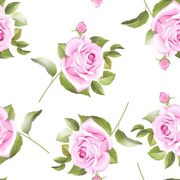 Motivi floreali e foglie senza soluzione di continuità con belle rose Vettore Premium