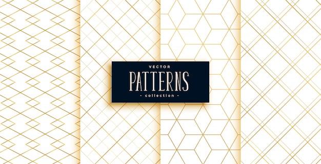 Motivi geometrici art deco dorati e bianchi Vettore gratuito