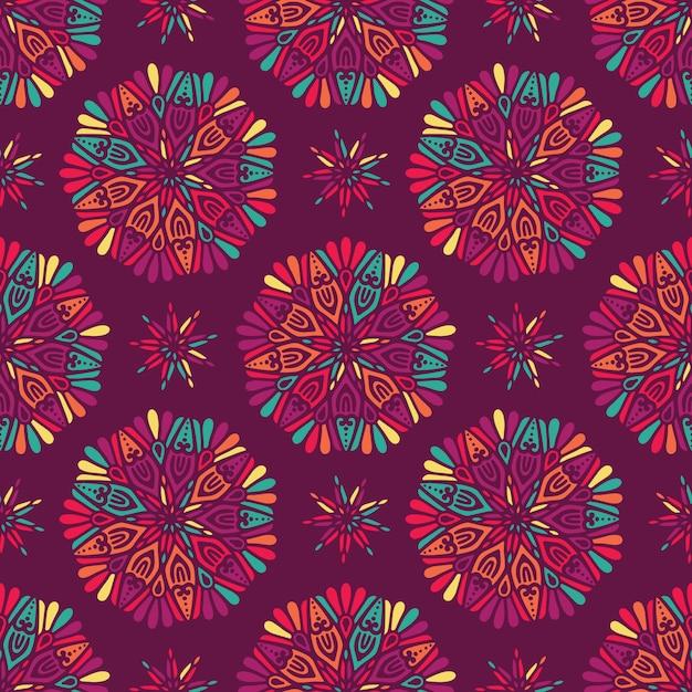 Motivo a medaglione paisley indiano floreale Vettore gratuito