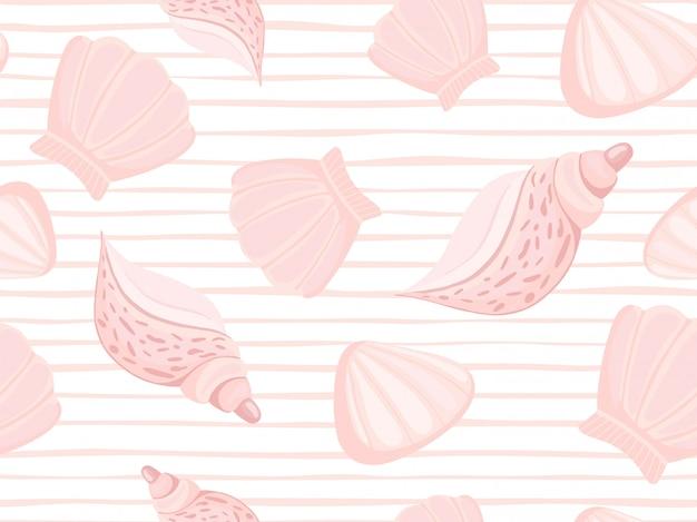 Motivo a strisce decorativo conchiglie rosa Vettore Premium