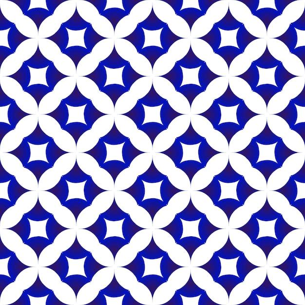 Motivo ceramico blu e bianco Vettore Premium