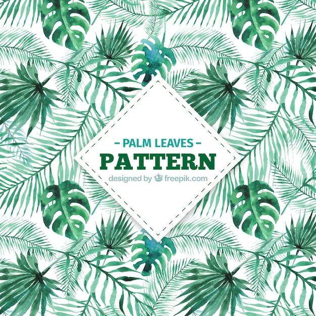 Motivo decorativo di foglie di palma acquerello Vettore gratuito