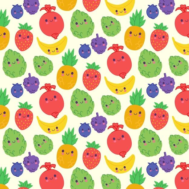 Motivo di frutta con uva Vettore gratuito