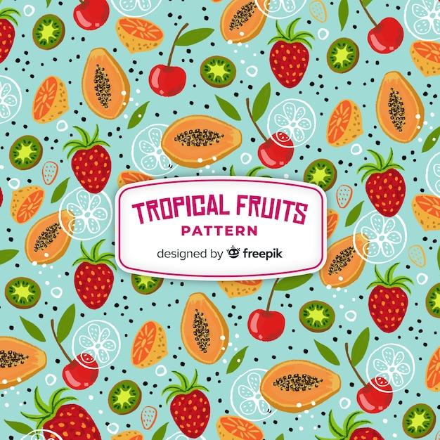 Motivo di frutta tropicale Vettore gratuito