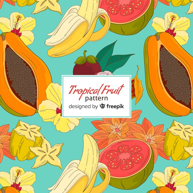Motivo di frutti tropicali Vettore gratuito