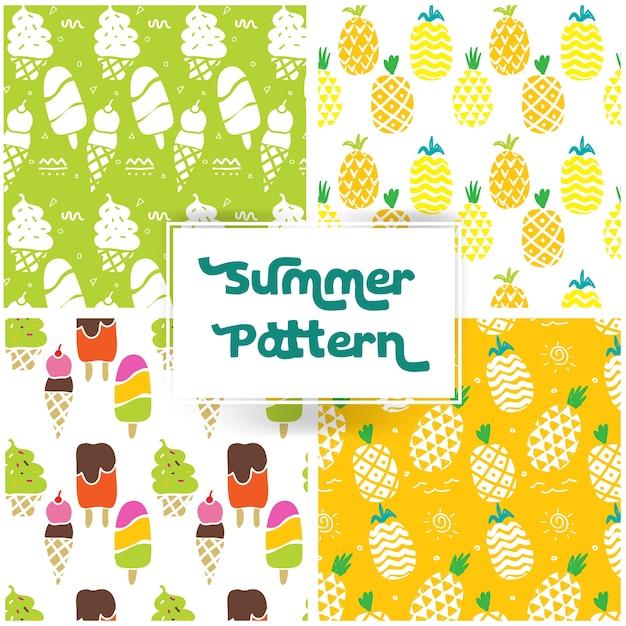 Motivo estate con pineaple e gelato Vettore gratuito