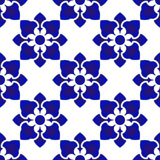 Motivo floreale blu e bianco Vettore Premium