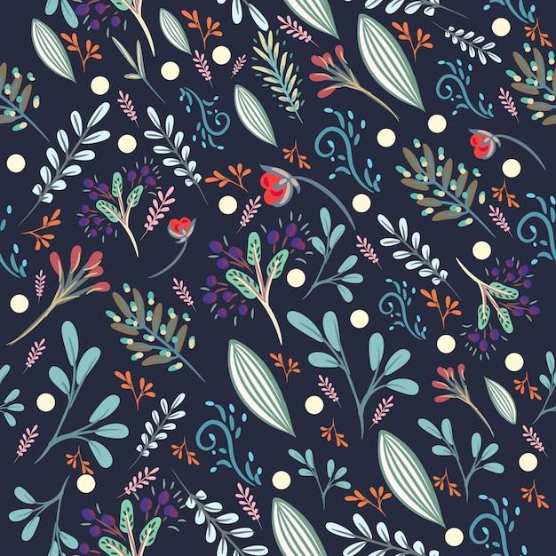 Motivo floreale carino con fiori pastelli rustici colorati Vettore gratuito