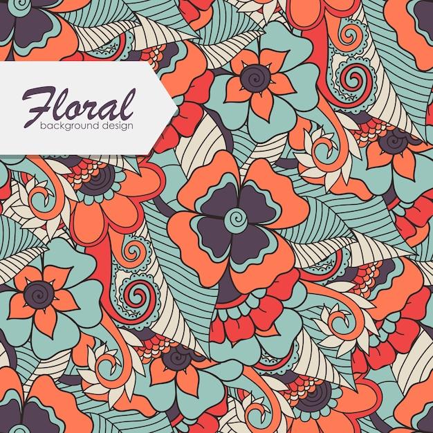 Motivo floreale con fiore zentangle. Vettore gratuito