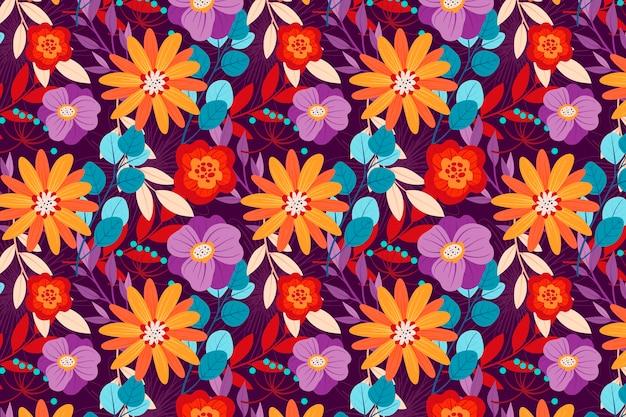 Motivo floreale design colorato Vettore gratuito