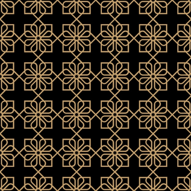 Motivo floreale senza cuciture scuro geometrico in stile orientale Vettore Premium