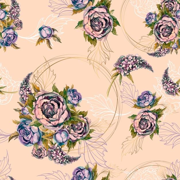 Motivo floreale senza soluzione di continuità bouquet di rose peonie e lillà. Vettore Premium