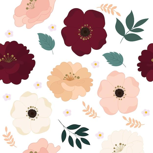 Motivo floreale senza soluzione di continuità con bellissimi fiori. Vettore Premium