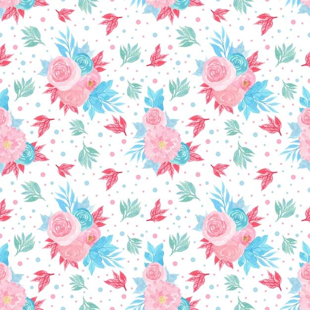 Motivo floreale senza soluzione di continuità con fiori colorati Vettore Premium