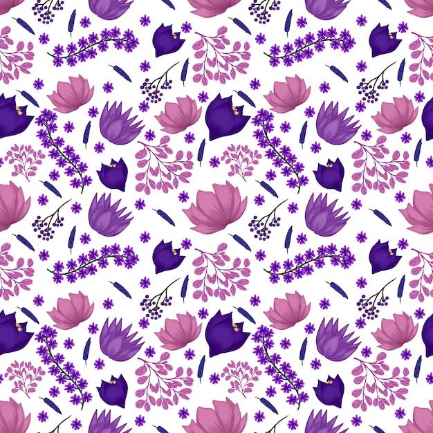 Motivo floreale senza soluzione di continuità con fiori viola Vettore Premium