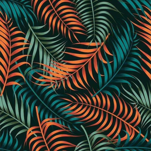Motivo floreale senza soluzione di continuità con foglie. sfondo tropicale Vettore Premium