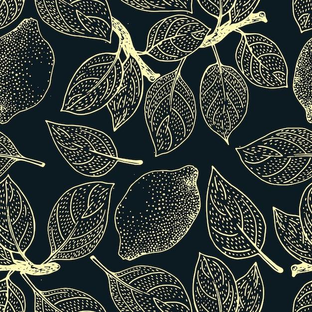Motivo floreale senza soluzione di continuità. sfondo di frutti di limone. fiori, foglie di limoni Vettore Premium