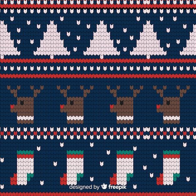Motivo natalizio a maglia festivo Vettore gratuito