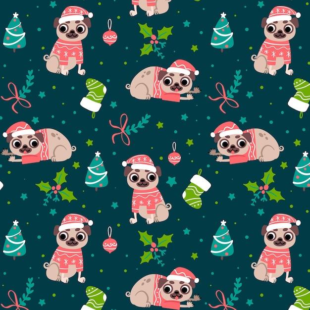 Motivo natalizio divertente Vettore gratuito