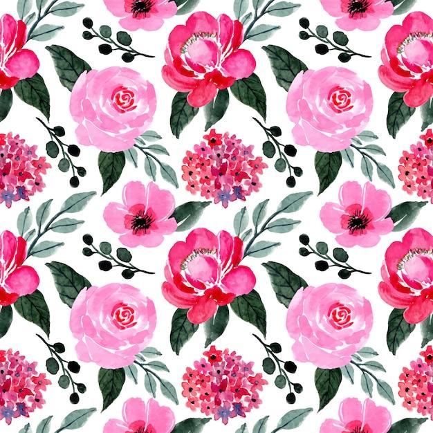 Motivo rosa e verde con acquarello floreale Vettore Premium