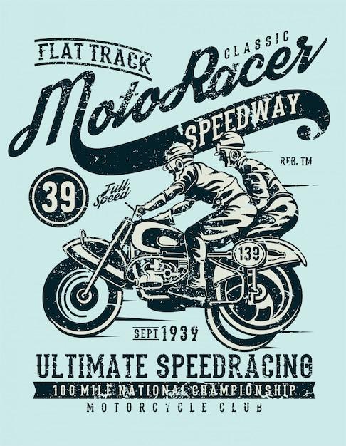 Moto racer classic, design vintage illustrazione Vettore Premium