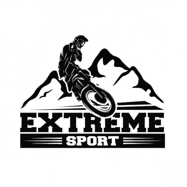 Moto track o motocross jump logo vettoriale Vettore Premium