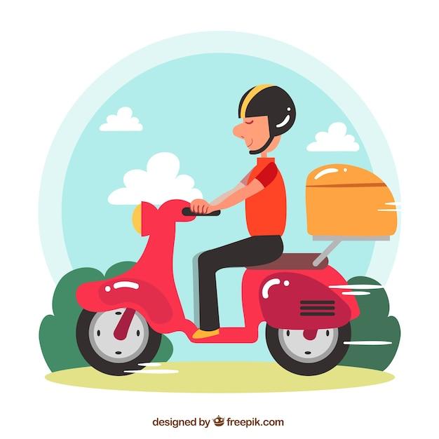 Motocicletta per sfondo di consegna Vettore gratuito