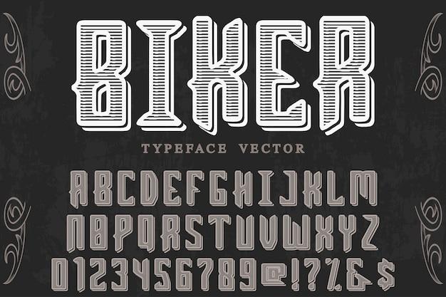 Motociclista di progettazione di etichetta lettering retrò Vettore Premium