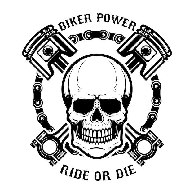 Motociclista, guida o muori. cranio umano con pistoni incrociati. elemento per logo, etichetta, emblema, segno. illustrazione Vettore Premium