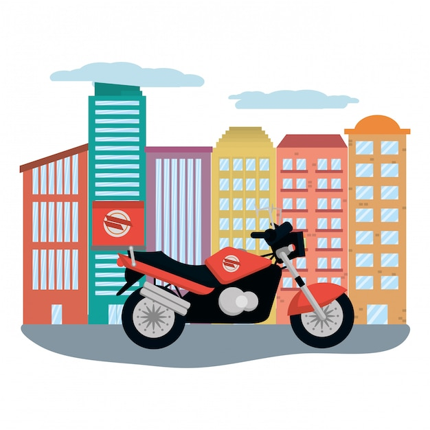Motociclo di consegna nel paesaggio urbano Vettore Premium
