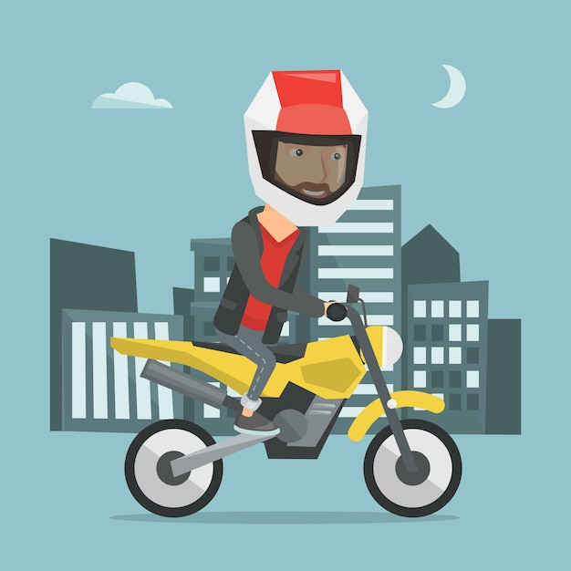 Motociclo di guida dell'uomo all'illustrazione di vettore di notte Vettore Premium