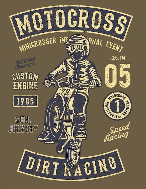 Motocross dirt racing. illustrazione d'epoca Vettore Premium