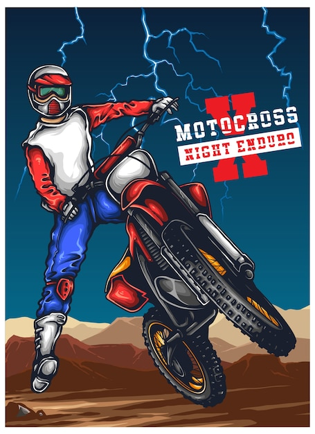 Motocross enduro offroad illustration Vettore Premium