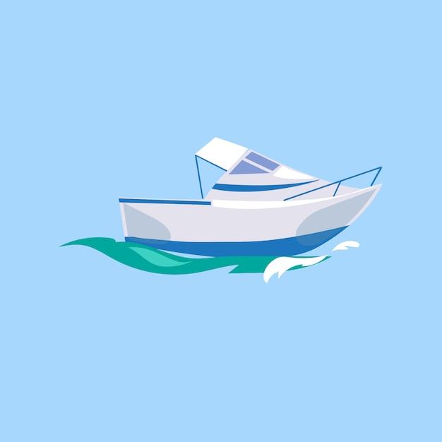 Motoscafo nave sull'acqua. Vettore Premium