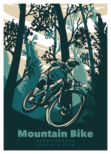 Mountain bike nel modello di poster vintage foresta Vettore Premium