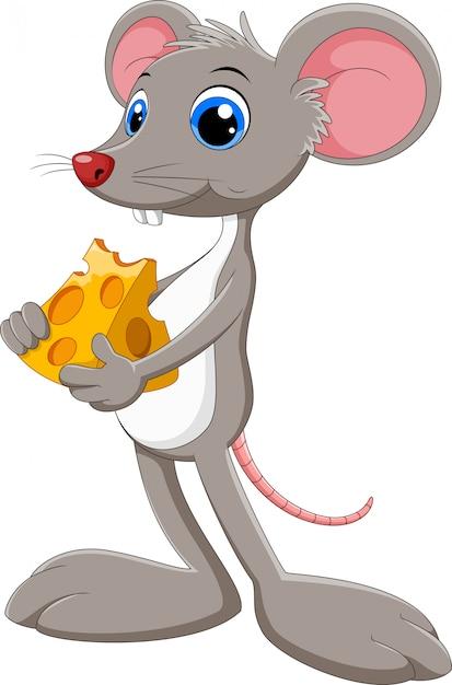 Mouse divertente del fumetto con pezzo di formaggio Vettore Premium