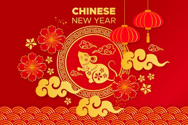 Mouse e motivi dorati per il capodanno cinese Vettore gratuito