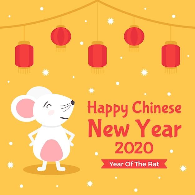 Mouse fiero di vista frontale e nuovo anno 2020 cinesi Vettore gratuito