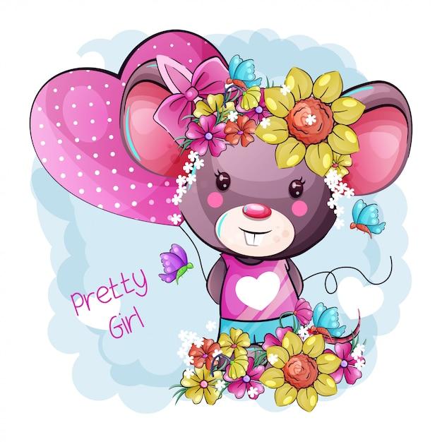 Mouse sveglio del bambino del fumetto con i fiori Vettore Premium