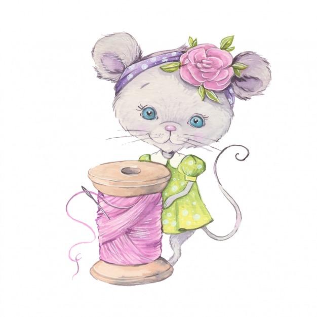 Mouse sveglio del fumetto dell'acquerello con una bobina di filo per cucire. Vettore Premium