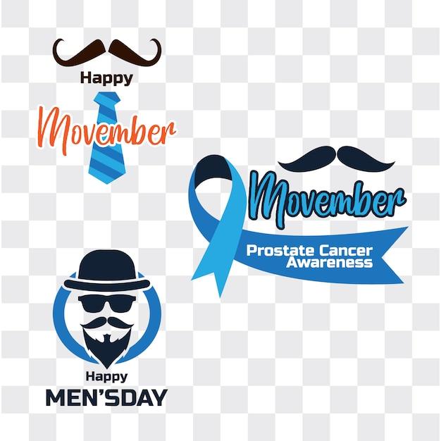 Movember, giornata internazionale per uomini Vettore Premium