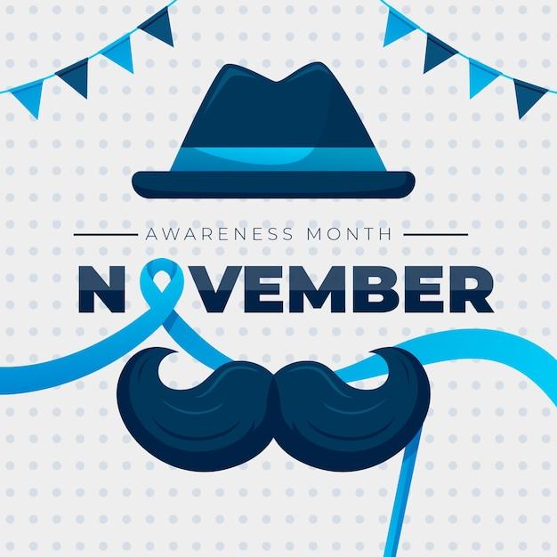 Movember piatto con baffi e ghirlanda Vettore gratuito