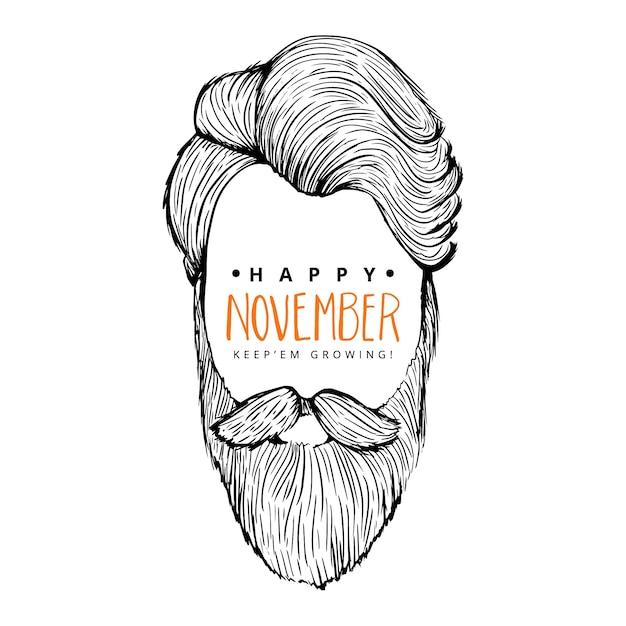 Movember sfondo felice di uomo con stile a vita bassa Vettore gratuito