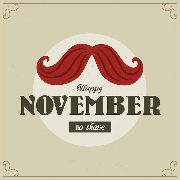 Movember vintage senza sfondo di rasatura Vettore gratuito