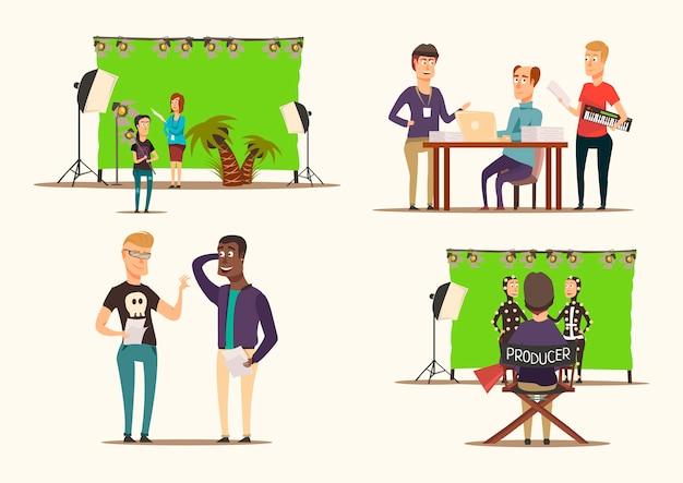 Movie making 2x2 concept Vettore gratuito
