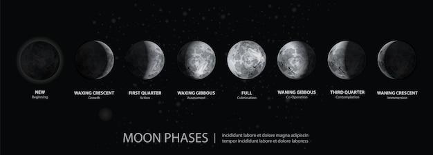 Movimenti della luna fasi realistiche Vettore Premium