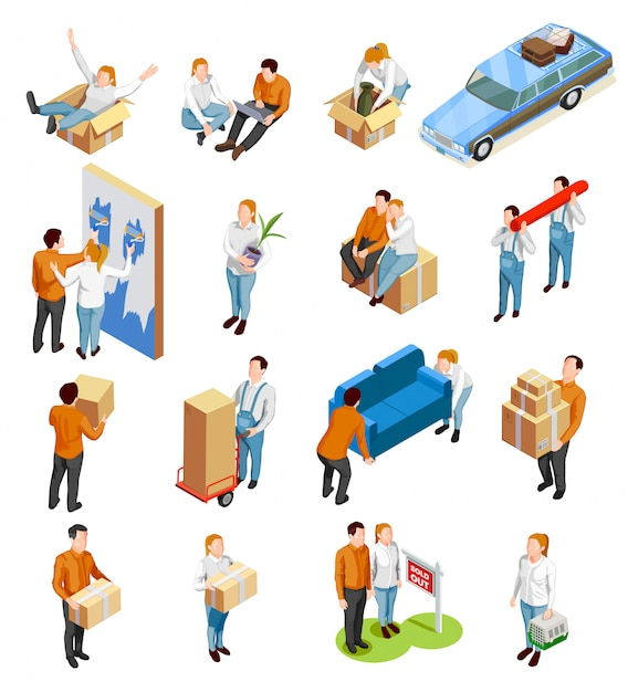 Moving people isometric set Vettore gratuito
