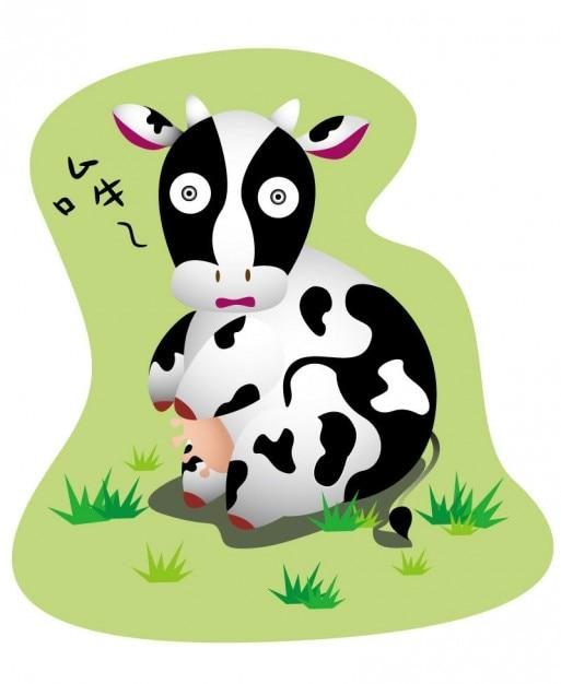 Mucca cartone animato con grandi occhi vettore scaricare