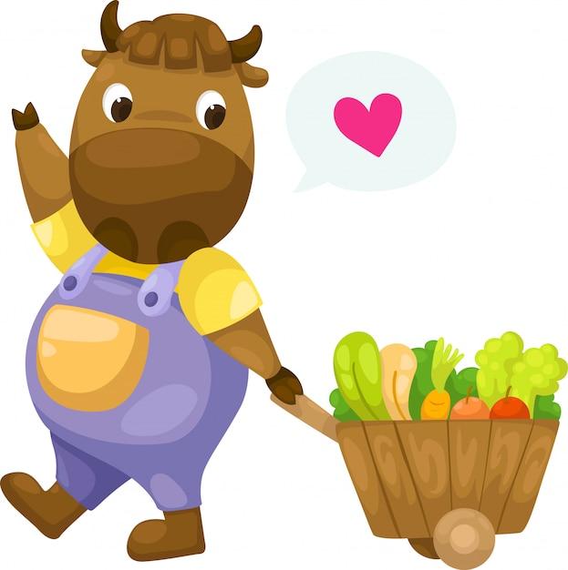 Mucca con il vettore di carrello in legno Vettore Premium