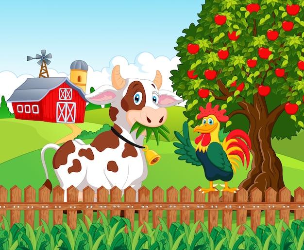 Mucca e pollo felici nella fattoria scaricare vettori premium